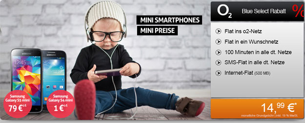 o2 Blue Select mit Samsung Galaxy S4 Mini, S5 Mini