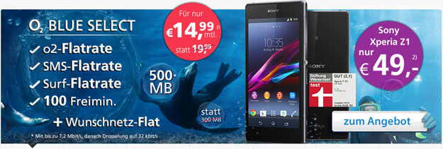 Sony Xperia Z1 mit o2 Blue Select