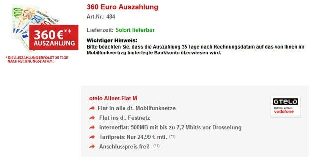Otelo Allnet-Flat M mit 360 € Auszahlung