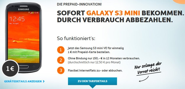 Samsung Galaxy S3 Mini Value Edition für 1 € zur simyo Prepaidkarte