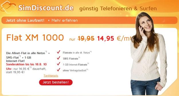 SimDiscount Flat XM 1000 für 14,95 € mtl.