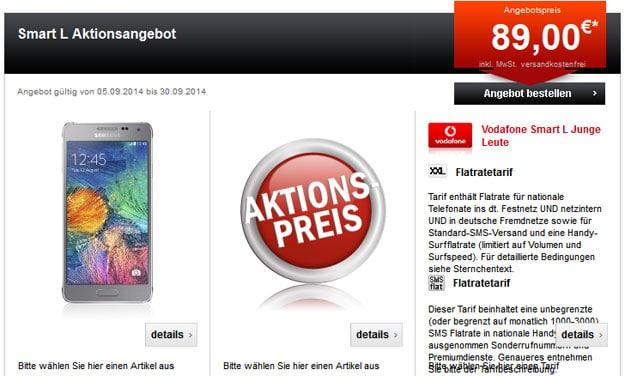 Vodafone Smart L mit Sony Xperia Z3, Samsung Galaxy Alpha u.a.