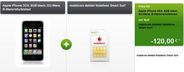 Vodafone Smart Surf mit iPhone 3GS (B-Ware) und 120 € Auszahlung