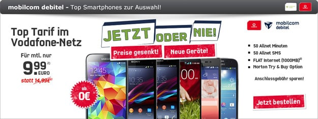 Vodafone Smart Surf mit Sony Xperia Z1, Samsung Galaxy S5 Mini u.a.
