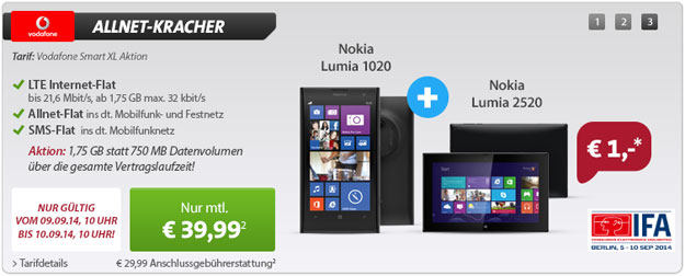 Vodafone Smart XL mit Nokia Lumia 1020 + 2520 (IFA-Deal)