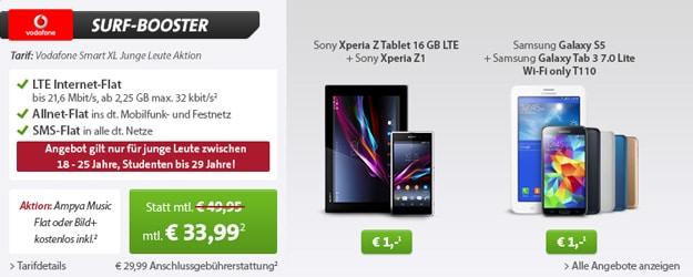Vodafone Smart XL + Samsung Galaxy S5 und Tablet oder Xperia Z1 und Tablet