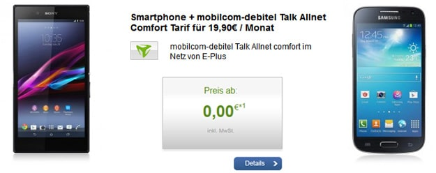 Talk Allnet Comfort E-Plus mit Sony Xperia Z Ultra, S4 Mini u.a.