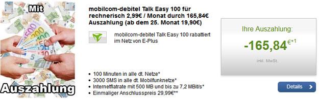 Talk Easy 100 E-Plus mit Auszahlung für 2,99 € mtl.