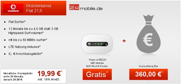 Vodafone Datenflats mit 360 € Auszahlung + Router