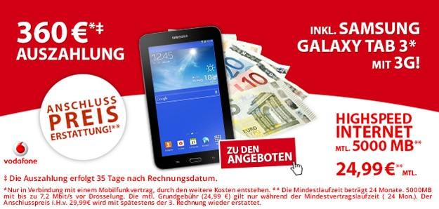 Vodafone Datenflats mit 360 € Auszahlung und Samsung Galaxy Tab 3 (7.0) Lite 3G