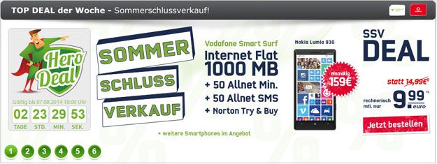 Vodafone Smart Surf mit Nokia Lumia 930