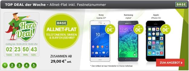BASE all-in classic mit Sony Xperia Z3, Galaxy Alpha u.a.