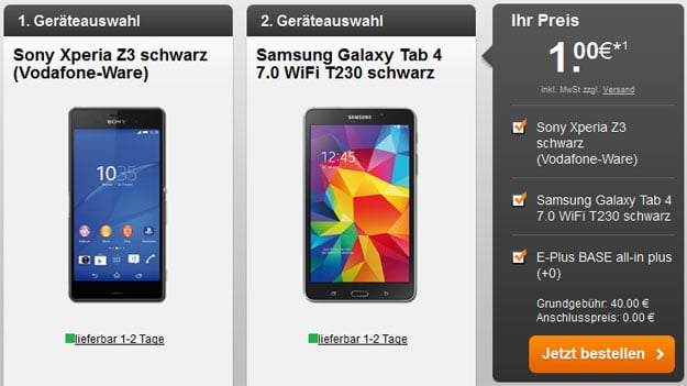 BASE all-in plus z.B. mit Samsung Galaxy Z3 + Tab 4