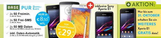 BASE pur mit 2 x Sony Xperia E1 und Smartphone