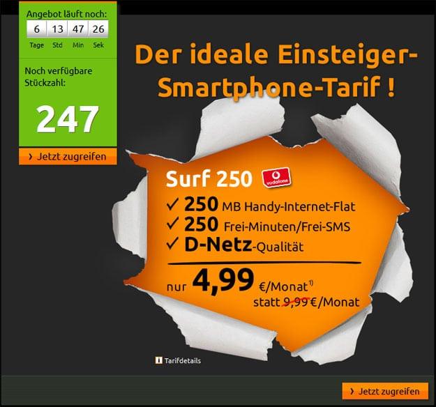 Crash-Tarife: Vodafone Surf 250 für 4,99 € mtl.
