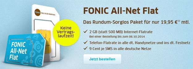 Fonic Prepaid-Flat mit 2 GB Datenvolumen