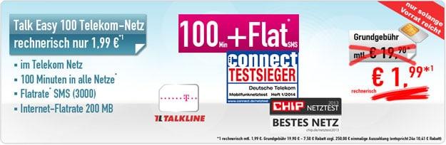 Handybude: Talk Easy 100 Telekom für 1,99 € mtl.
