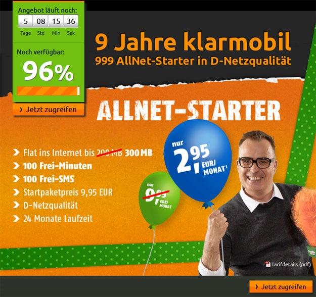Klarmobil Allnet-Starter bei Crash-Tarife.de