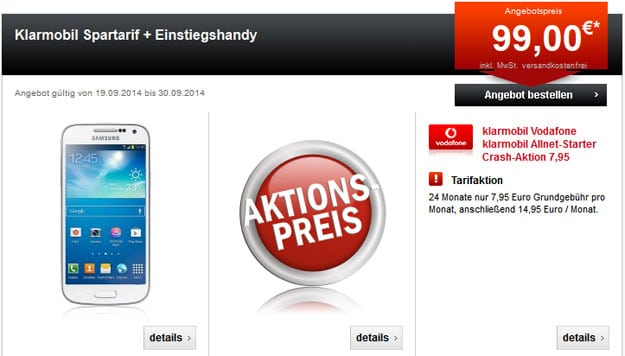 Klarmobil AllNet-Starter mit Samsung Galaxy S4 Mini u.a.