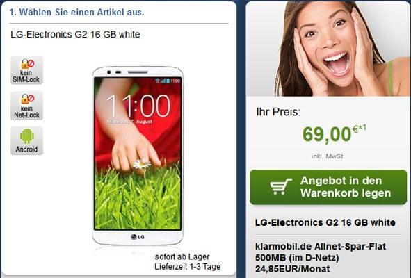 Klarmobil Telekom-Flat mit LG G2 u.a.