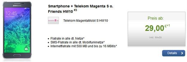 Telekom MagentaMobil S (+Friends) mit Samsung Galaxy Alpha u.a.
