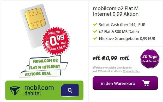 md o2 Flat M Internet für 0,99 € mtl.