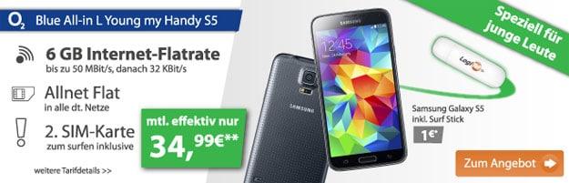 o2 Blue All-in L Junge Leute mit Samsung Galaxy S5