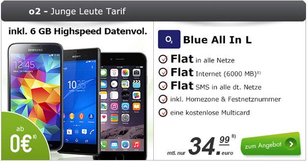 o2 Blue All-in L Junge Leute mit iPhone 6, Sony Xperia Z3 u.a.