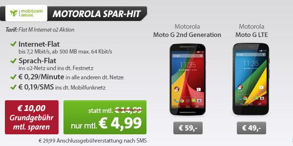 o2 Flat M Internet mit Motorola Handys