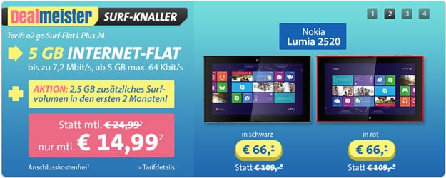o2 go Surf Flat L mit Nokia Lumia 2520