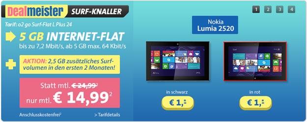 o2 go Surf-Flat L SIM mit Nokia Lumia 2520