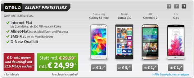 Otelo Allnet-Flat L z.B. mit Samsung Galaxy S5 Mini