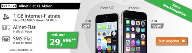 Otelo Allnet-Flat XL mit iPhone 5s und 6