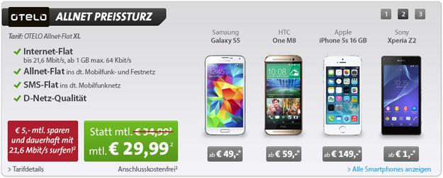 Otelo Allnet-Flat XL z.B. mit Samsung Galaxy S5
