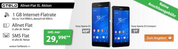 Otelo Allnet-Flat XL z.B. mit Sony Xperia Z3