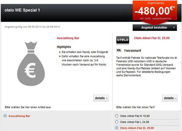 Otelo Allnet-Flats mit bis zu 480 € Auszahlung