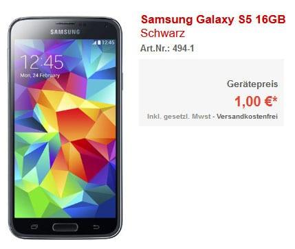 Samsung Galaxy S5 für 1 € mit Otelo Allnet-Flat L