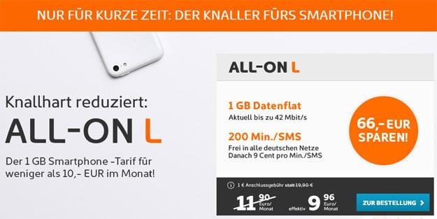 simyo All-On L mit 1 GB Datenvolumen