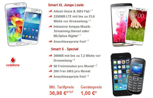 Vodafone Smart XL + Smart S mit Handys