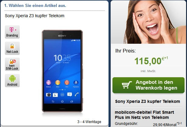 Flat Smart Plus (md) mit Sony Xperia Z3 u.a.