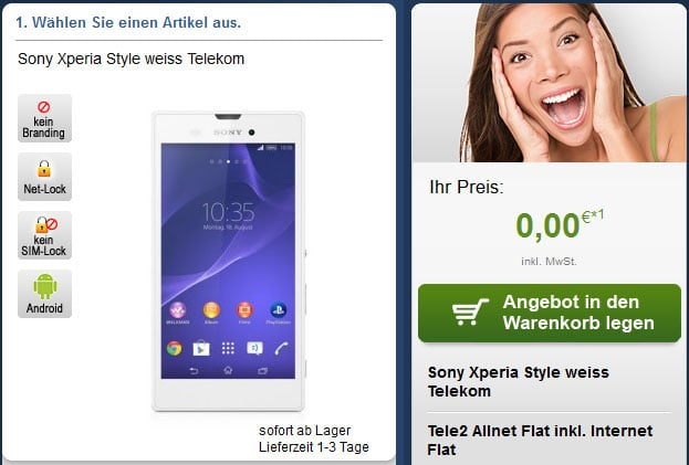Tele2 Allnet mit Sony Xperia Style u.a.