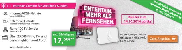 Telekom Entertain Comfort mit 274 € Auszahlung