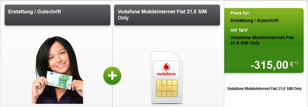 Vodafone Flat mit LTE und 315 € Auszahlung