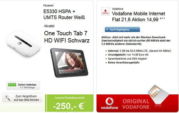 Vodafone MobileInternet mit 250 € Auszahlung