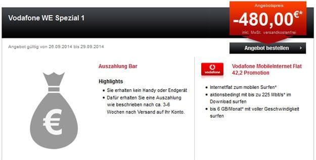 Vodafone 6 GB LTE-Flat mit 480 € Auszahlung