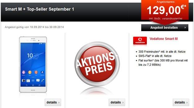 Vodafone Smart M mit Sony Xperia Z3 u.a.