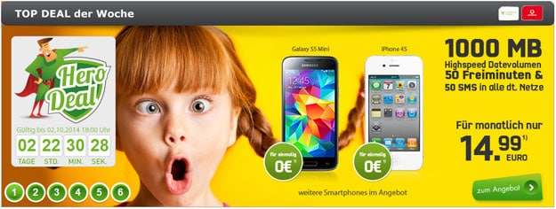 Vodafone Smart Surf (md) mit Sony Xperia Z2 u.a.