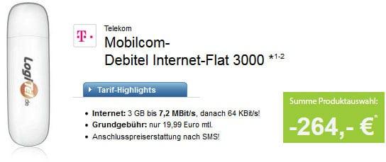 3GB Datenflat Telekom mit 264 EUR Auszahlung