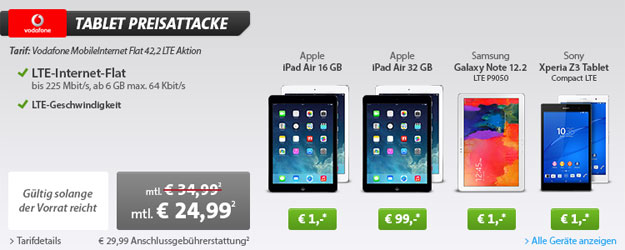6 GB LTE-Datenflat mit iPad Air oder Samsung Galaxy NotePro 12.2