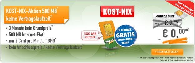 Kost-nix-Aktion - 500 MB Klarmobil